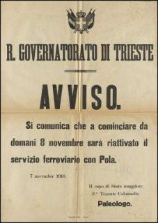 Avviso / R. Governatorato, Trieste