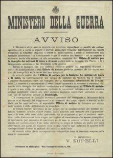 Avviso / Ministero della guerra