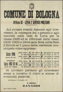 Ad evitare ritardi dannosi agli interessati, la consegna dei precetti ... / Comune di Bologna, ufficio IX leva e servizi militari