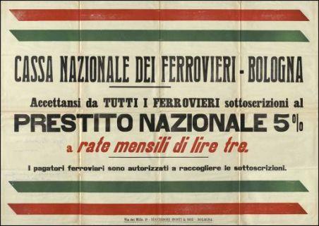 Accettansi da tutti i ferrovieri sottoscrizioni al prestito nazionale 5% a rate mensili di lire tre / Cassa nazionale dei ferrovieri, Bologna