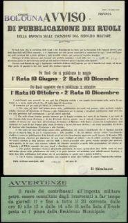 Avviso di pubblicazione dei ruoli della imposta sulle esenzioni da servizio militare / [Comune di Bologna]
