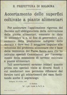 Accertamento delle superfici coltivate a piante alimentari / R. Prefettura di Bologna