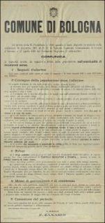 Ad invito della R. Prefettura e visto quanto è stato disposto in materia 10 dicembre 1917 di s.e. il tenente generale comandante il Corpo d'armata e 27 aprile 1918 del Comando supremo, il sottoscritto comunica ... / Comune di Bologna
