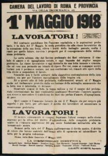 1. maggio 1918, lavoratori!  / Camera del lavoro di Roma e provincia