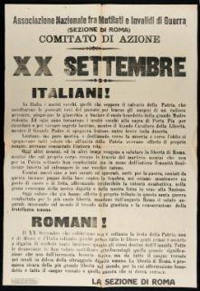 20. settembre  / Associazione nazionale fra mutilati e invalidi di guerra (sezione di Roma), Comitato di azione