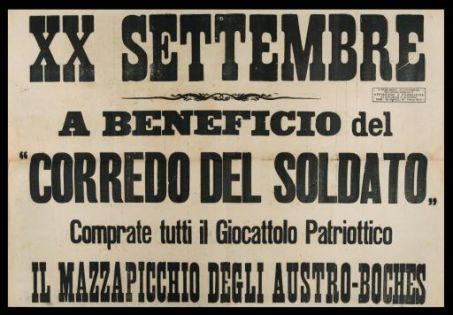"""20. settembre  : a beneficio del """"corredo del soldato"""" comprate tutti il giocattolo patriottico Il Mazzapicchio degli austro-boches"""