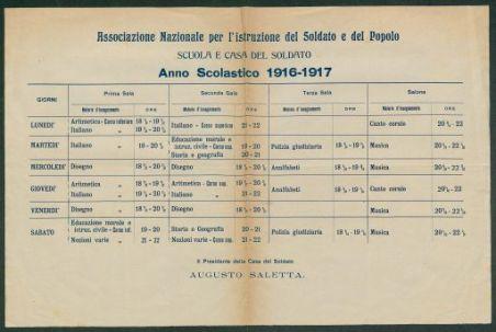 Anno scolastico 1916-1917/ Associazione nazionale per l'istruzione del soldato, Scuola e casa del soldato
