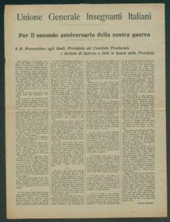 Per il secondo anniversario della nostra guerra  / Unione Generale Insegnanti Italiani