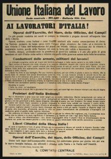 Ai lavoratori d'Italia!  / Unione Italiana del Lavoro