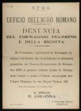 Denuncia del formaggio pecorino e della ricotta  / S.P.Q.R., Ufficio dell'Agro Romano