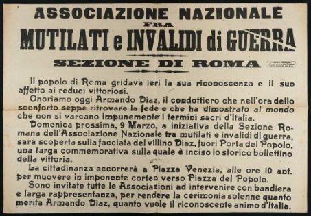 Associazione nazionale fra mutilati e invalidi di guerra, sezione di Roma
