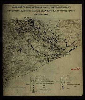 14481. Schieramento delle artiglierie e delle truppe contrapposte all'estrema ala destra all'inizio della battaglia di Vittorio Veneto (24 ottobre 1918)