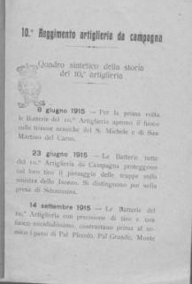 10.° Reggimento artiglieria da campagna : quadro sintetico della storia del 10.° artiglieria