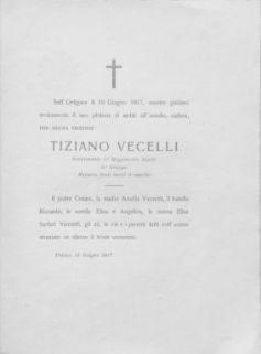 A la memoria di Tiziano vecelli caduto per la patria, 10 giugno 1917