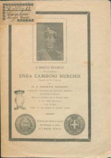A ricordo mesto del compianto Enea camboni nurchis, tenente nel 59 fanteria