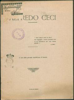 Alfredo Ceci : A cura della gioventù repubblicana di Carrara