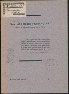 Alfredo Fornaciari, tenente di fanteria, caduto per la patria