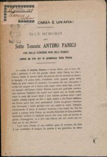 Alla memoria del sottotenente Antimo panico che sulle contese rive dell'isonzo cadeva da eroe per la grandezza della patria