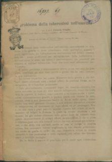 Il problema della tubercolosi nell'esercito. / prof. Ferruccio Schupfer - Roma : Tip. E. Voghera, 1918