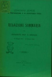 Relazione sommaria del presidente prof. D. Barduzzi : 14 maggio 1915-30 giugno 1916 / Comitato senese di preparazione e di assistenza civile