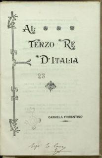 Al terzo re d'Italia / Carmela Fiorentino