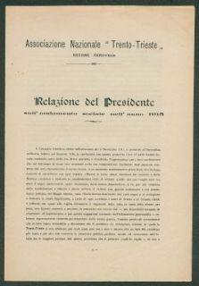 Relazione del presidente sull'andamento sociale dell'anno 1915  / Associazione nazionale Trento-Trieste, sezione genovese