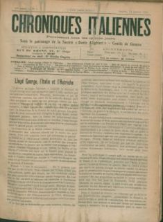 Chroniques italiennes : paraissant deux fois par mois sous le patronage de la Société Dante Alighieri