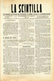 La scintilla : settimanale letterario dei prigionieri di guerra italiani in Sigmundsherberg