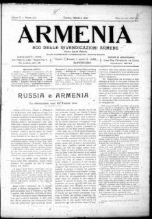 Armenia : eco delle rivendicazioni armene : periodico mensile / Carlo Margaria