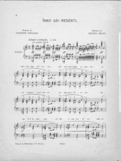 Inno dei redenti : Pianoforte solo (con testo). Poesia di Giuseppe vingiano