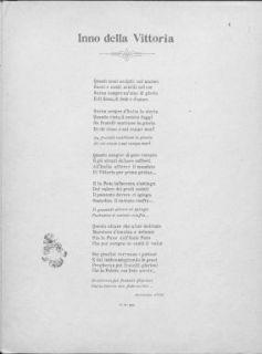Inno della Vittoria : Canto e pianoforte. Parole di Luigi Panigada