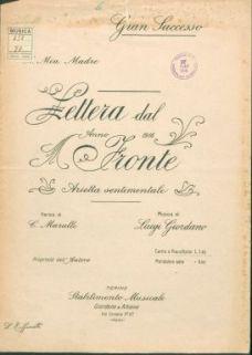 Lettera dal fronte : arietta sentimentale : canto e pianoforte / parole di C. Marulli