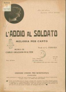 L' addio al soldato : Melodia per canto e pianoforte, con violino obbligato. Parole di G. Ferrara