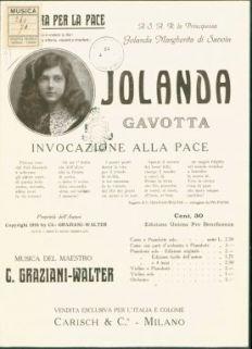 Op. 397 : Invocazione alla Pace sui motivi della gavotta Jolanda : per canto, violino o mandolino