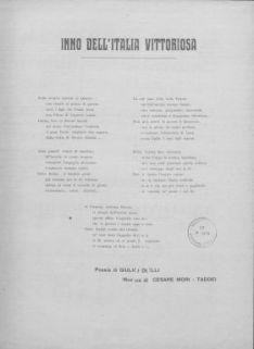 Inno dell'Italia vittoriosa : Canto e pianoforte. Poesia di Giulio Delli