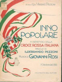 Inno popolare a beneficio della Croce rossa italiana : Canto e pianoforte. Parole di Ildebrando Pezzoni