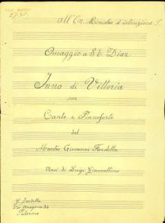 Inno di Vittoria per canto e pianoforte / del Maestro Giovanni Fardella ; versi di Luigi Giannettino
