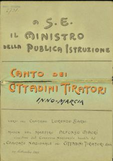 Canto dei cittadini tiratori : inno-marcia / versi del Capitano Lorenzo Bardi ; musica del maestro Alfonso Macrì