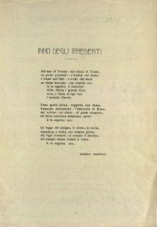 Inno degli irredenti  / musica del maestro Giuseppe Mancini  ; [versi di] Asterio Mannucci