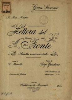 Lettera dal fronte  : arietta sentimentale  / parole di C. Marulli  ; musica di Luigi Giordano