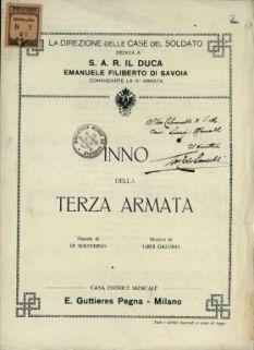 Inno della 3. armata  / parole di Di Solferino  ; musica di Luigi Gallino